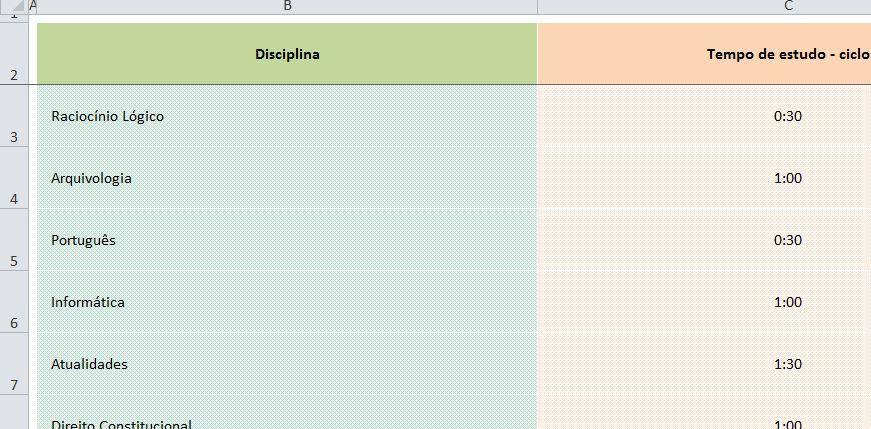 aba para preencher com as disciplinas do ciclo de estudos